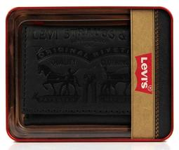 Levi's Men's Coated Leather Credit Card Trifold Wallet Embossed Logo Black image 8
