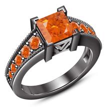 Orange Sapphire Black Gold Finish 925 Silver Solitaire W/ Accents Weddin... - ₨6,279.97 INR
