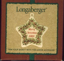 Longaberger 2001 Merry Christmas Basket Tie-on Retired - $10.78