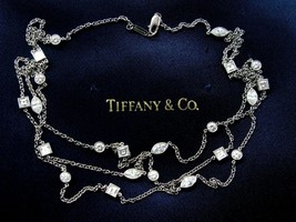 "Tiffany & Co Platinum Multi Shape Diamond Swing 3-Row Necklace 16"" 3.65Ct - $15,790.50"