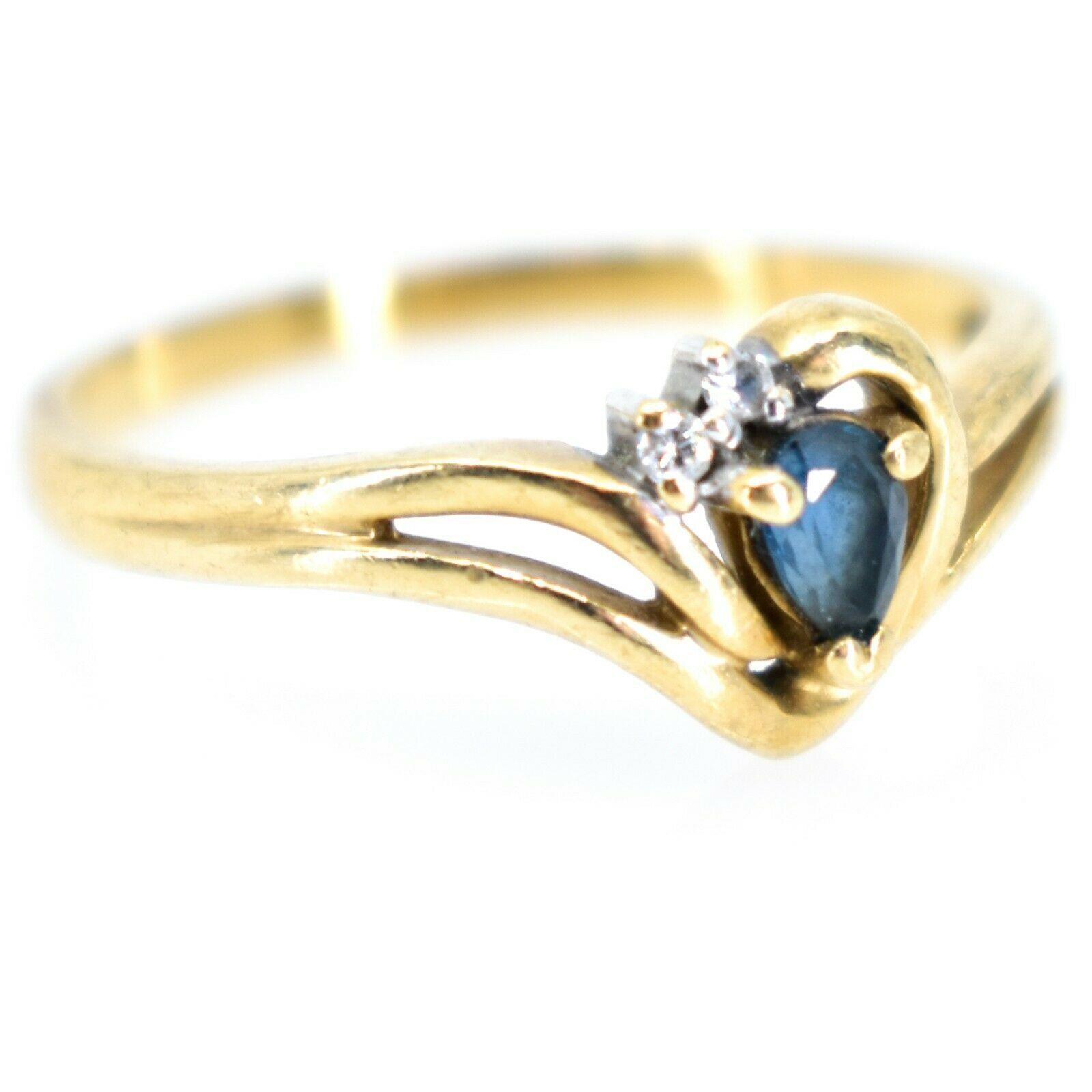 10K Yellow Gold Diamond & Pear Cut Sapphire Gemstone Ring Size 6.25 2.1g
