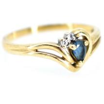 10K Yellow Gold Diamond & Pear Cut Sapphire Gemstone Ring Size 6.25 2.1g image 1