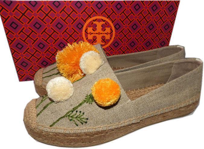 Tory Burch Natural Linen Lily Pompom Platform Espadrilles Flats Shoes 9