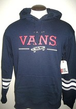 Vans Shoes Mens Relton pullover hoodie Sweatshirt Blue White Red NWT Fre... - $44.99