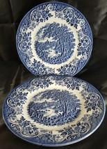 (2) CHURCHiLL BLUE ENGLISH SCENE Dinner Plates FISHING CASTLE(multiple a... - $28.01