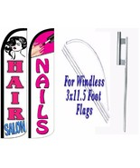 Hair Salon Nails Windless Swooper Flag With Complete Kit Pack of 2 - $94.99