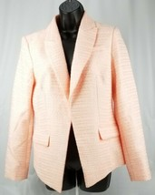 $139 Calvin Klein Womans Textured Flyaway Jacket Blazer Pink/White 6 Nwt - $68.03