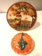 "5""Round Ceramic Painted Plaque Pumpkin Candle Fall Halloween Thanksgivin... - $9.85"