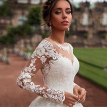 Elegant Victorian Tulle Wedding Dress Long Sleeve Court Train With Lace Applique image 2