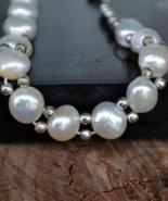 pearl bracelet, sterling silver bracelet, silver pearl bracelet, natural... - $33.99