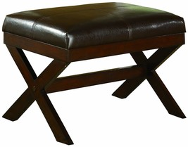 Crown Mark Bronson X-Bench Modern Furniture Seat Espresso Vanity Bench S... - £52.67 GBP