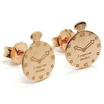 Silver Earrings 925 Laminated in Rose Gold le Favole with Alarm Clock - $38.90