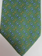 NEW Brooks Brothers Green With Gold and Blue Stirrups Silk Tie - $37.49
