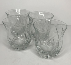 "Anchor Hocking Set Of 4 Swirl Clear Juice Glasses Tumblers 8 Oz 3 1/2"" H... - $7.88"