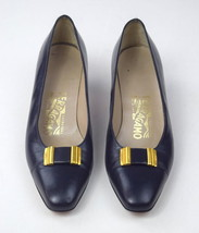 Vtg 90s SALVATORE FERRAGAMO Navy Blue Leather Metal Bow Flats Shoes Heel... - $56.29 CAD