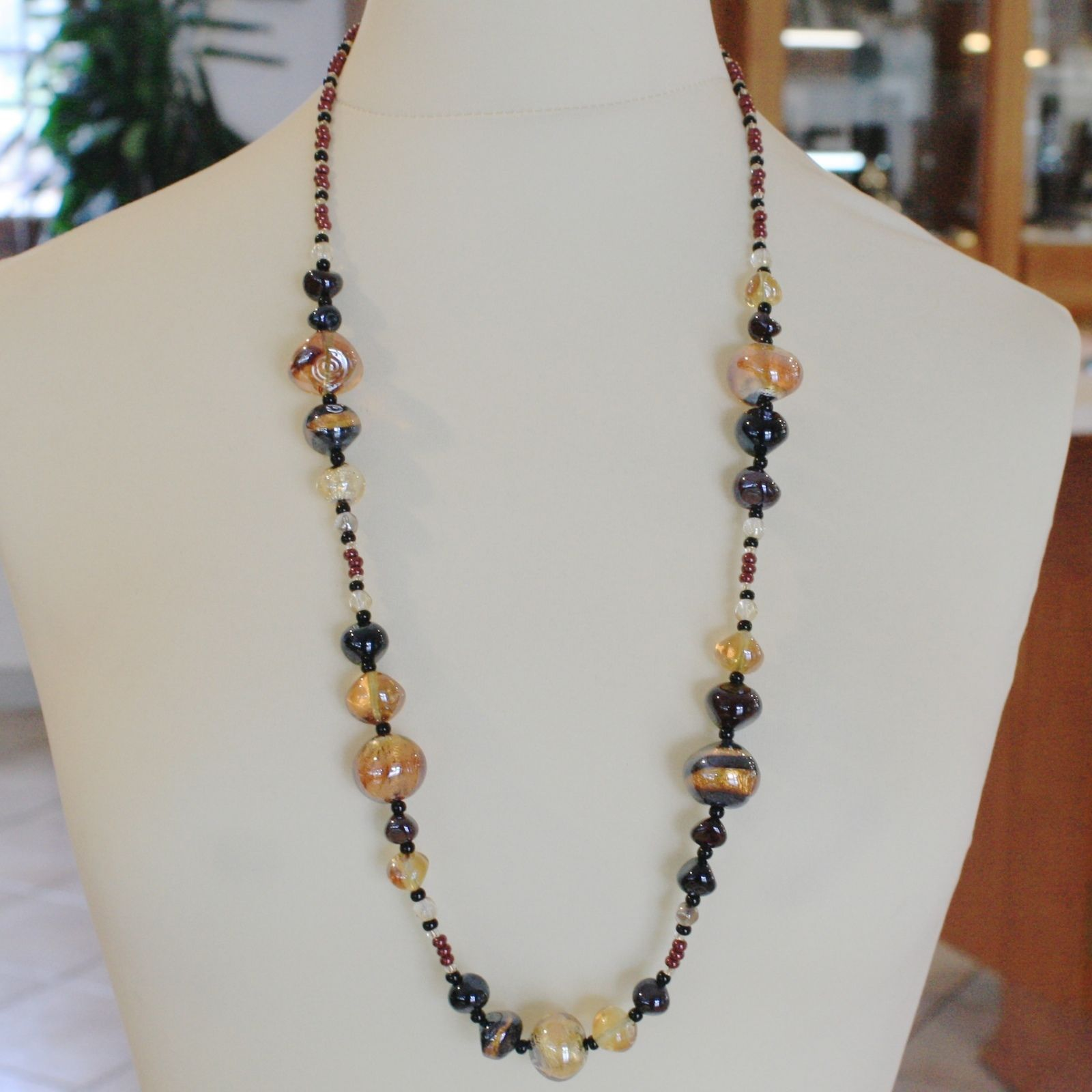 ANTICA MURRINA VENEZIA LONG NECKLACE MULTICOLOR, BIG AMBER BLACK NUGGETS