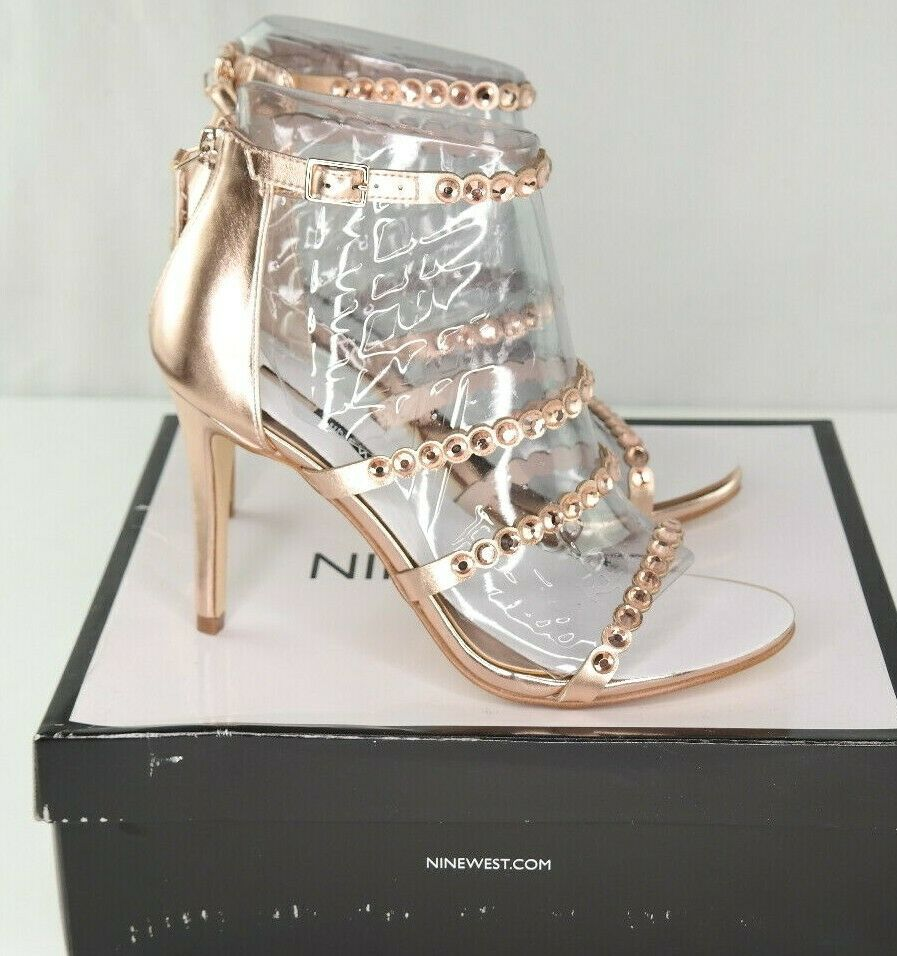 Nine West Vandison Dress Sandals Sz 9 Womens Pink Strappy High Heel Shoes