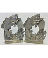 Vtg Metzke Pewter Large Mouth Bass Bookends Pair Made In USA Fish Art De... - $30.81
