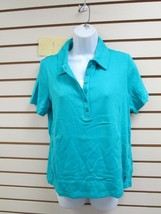NWT DENIM & CO. SHORT SLEEVE POLO SHIRT SEA GREEN - MEDIUM WITH FAUX TAN... - $9.89