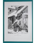 WINTER REVENGE Women Gossip Roof Snow Avalanche - VICTORIAN Era Engravin... - $21.60