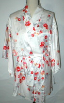 NWT New Designer Natori Short Wrap Robe Womens S Silky Satin Flowers Whi... - $110.50