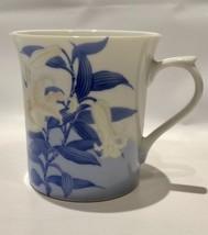 TIGER LILY Blue Leaf Bone China Cylinder Mug 1980 San Francisco - $13.46