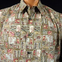 Cooke Street Hawaiian Aloha Shirt Mens L Patchwork Leaves and Geometric ... - $21.49