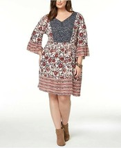 Style & Co. Plus Size 0X Dress Mixed-Print Flutter-Sleeve Peasant Dress ... - $21.77