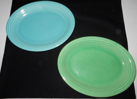 """(2) Vintage Homer Laughlin Fiesta Ware 12"""" Oval  Tray/ Plate  Blue & Green  - $34.60"""