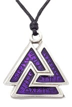 Purple VALKNUT RUNES Pendant Necklace Pagan Asatru Futhark Heathen Jewel... - $6.13