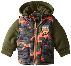 iXtreme Baby Boys' Camo Print Puffer with Fleece Hood, Forest, 12 Months - $28.65