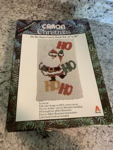 "CARON Christmas HO HO HO Santa Latch Hook Kit - 17"" x 30"" Wall Hanging"
