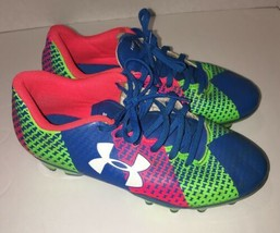 Under Armour UA Force Soccer Cleats 2.5y Neon Blue Green Pink - $11.94