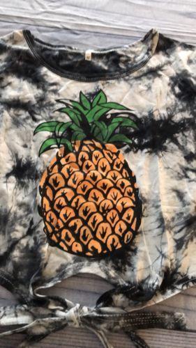 Tie Dye Pineapple Print Knot Hem Tee, Polyester Blend, Medium