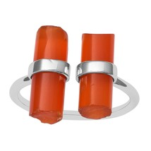 Two Cuffed Red Onyx Open Wrap Bar Cigar Statement Ring Vintage Sterling ... - £9.66 GBP+