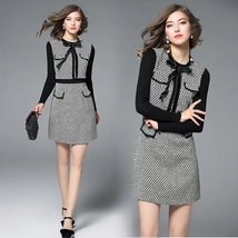 Autumn and winter new quality knit stitching long-sleeved tweed fashion dress - $59.00