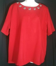 Talbots Top 3X Red Jeweled Neckline Knit Shirt Stretch Short Sleeve Bling - $14.84