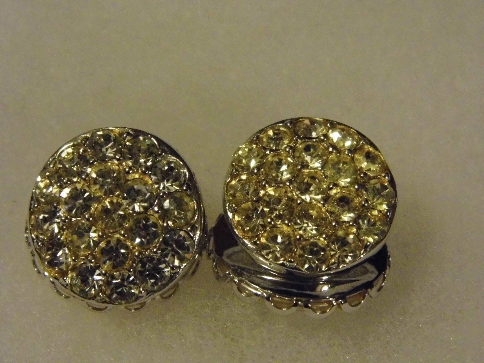 Vtg Sarah Coventry Clip On Two Sided Earrings Pearl Diamond Tone Costume Jewelry