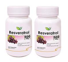 Krishna Biotrex Nutraceuticals Resveratrol 500mg - 60 Capsules (Pack of 2) - $99.18