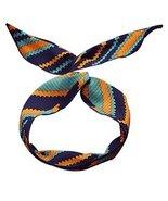 Womens Boho Bowknot Headband Self Tie Twist Chiffon Hair Band - Navy Yellow - $20.50