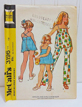 MCCALL'S Vtg Sewing Pattern 3196 Girls Swimwear Size 12 Retro Swimsuit T... - $24.66
