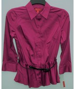 Elle Misses Festival Fuschia Belted Blouse Top XS Extra Small - $19.79