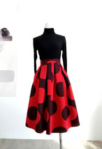 RED Winter Pleated Skirt Women Red Polka Dot Skirt Christmas Outfit Plus Size  image 7