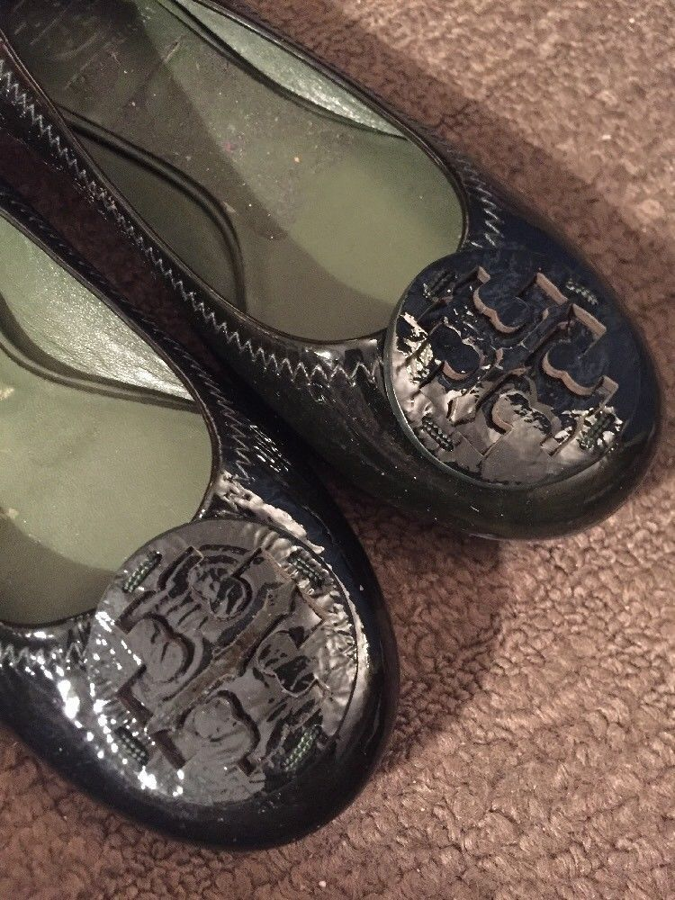 Tory Burch Womens Size 5.5 Reva Patent Leather Flat Ballet Big Logo Shoes Black