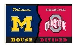 Ohio State Buckeyes /Michigan Wolverines House Divided Flag 3x5' Rivalry... - $23.33