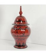 Unique Decorative Wood Box Jar with Lid red black designed (d) - $24.75