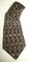 Bill Blass VTG Necktie Silk Tie Navy Maroon Gold Green Classic Wide Tie ... - $29.69