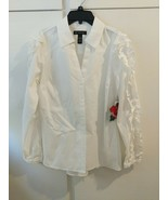 INC International Concepts Anna Sui White Blouse Ruffle Sleeves New With... - $24.74