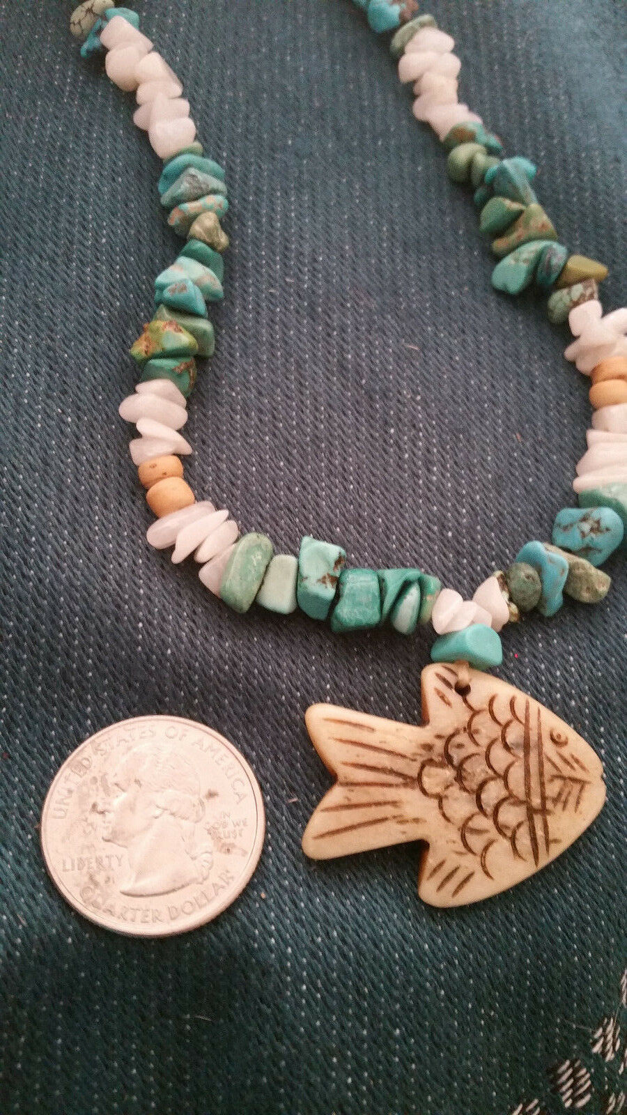 Old Mine Kingman's Turquoise Necklace,w/ Milk quartz, Fish pendant Men or Women image 3