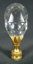 Antique Vintage Clear Glass Aladdin Lamp Finial w/Brass Petals Excellent Cond - $14.01